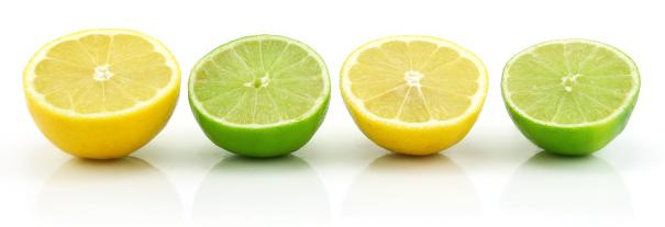 Limones y limas partidos